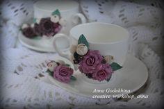 Чайная пара с декором из полимерной глины.