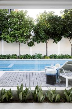 A modern pool and alfresco entertaining space connects the house, outdoor areas and bay.
