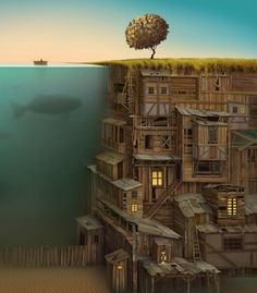 Along with some magnificent dreams, Jacek Yerka finds inspiration for his masterful paintings from his childhood memories: the places, remembered feelings and smells of 1950's Poland. He studied fine art and graphic design before becoming a full time artist in 1980… and we're glad he did. His paintings will take you through incredible worlds of imagination, bending reality in captivating and clever ways fit to inspire a novel or film.