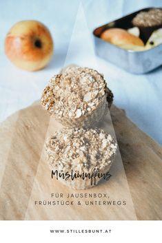 MÜSLIMUFFINS für Frühstück, Jausenbox und unterwegs Slow Food, Muffins, Cooking With Kids, Biscuits, Oatmeal, Cooking Recipes, Breakfast, Healthy, Bunt