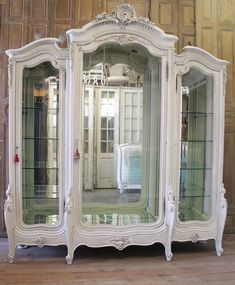 SALE Antique Painted French Louis XV Style Carved Display Armoire from Full Bloom Cottage Painting Wooden Furniture, Furniture Ads, French Furniture, Shabby Chic Furniture, Rustic Furniture, Furniture Makeover, Antique Furniture, Furniture Design, Furniture Stores