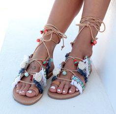 Tie Up Gladiator Sandals Greek Sandals Pom Pom by DimitrasWorkshop