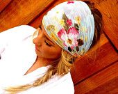 Floral Stretchy Gauze Headband - Light Blue Flower Print Head Scarf Women's Wide Hair Band Urban Turban Head Wrap Headband (HG-02)