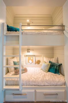 Kids Rooms Built-in bunks can be placed in hallways in vacation homes with curtain in front for privacy. Extra sleeping without extra room. House, Home, Bed Lights, Loft Bed, Loft Spaces, Bunk Bed Rooms, Small Rooms, Bunk Beds Built In, Built In Bed