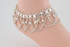 SILVER ANKLET WITH BELLS AND SWAGS