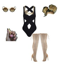 """Swimming anyone✌️"" by amari-hylton ❤ liked on Polyvore featuring Hot Anatomy, Lust For Life, Christian Louboutin, women's clothing, women, female, woman, misses and juniors"
