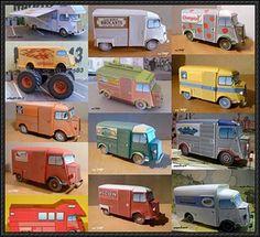 Lots of Citroën H Van Paper Vehicles Free Templates Download