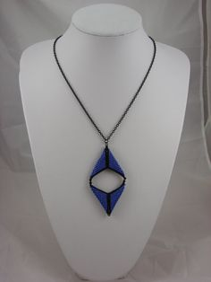 Peyote Diamond Matte Black & Blue Beadwoven Necklace