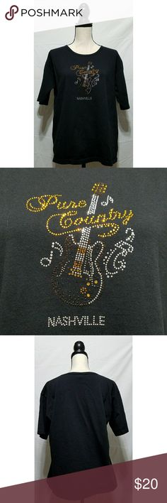 """Pure Country Nashville Black Rhinestone Tshirt Women's black Tshirt, size large. It is blinged with a rhinestone guitar and Pure Country Nashville. It is in excellent used condition with no stains, tears, rips or holes that I can see.  100% cotton   Chest: 44"""" Armpit to armpit: 22"""" Shoulder to waist: 25"""" Armpit to waist: 16"""" Sleeve: 9""""  All items come from a smoke and pet free home. Tops Tees - Short Sleeve"""