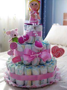 Ideas de tartas de pañales para Baby Shower de niña | Manualidades para Baby Shower