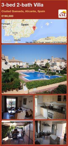 3-bed 2-bath Villa in Ciudad Quesada, Alicante, Spain ►€190,000 #PropertyForSaleInSpain