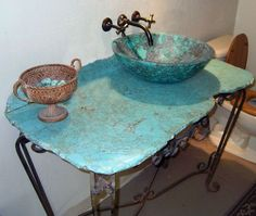 Turquoise By working with the natural qualities in glamorous gemstones, Rachiele is able to capture a fluid organic beauty within hard solid rock. Stunning stone ripples with natural grains and. Sink Countertop, Concrete Countertops, Gemstone Countertops, Tin Walls, Bathroom Design Inspiration, Stone Sink, Unique Home Decor, A Table, Decorative Bowls