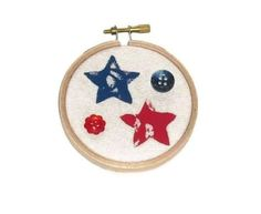 Americana Red and Blue Stars Hoop by ThisandThatCrafter on Etsy, $12.50