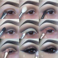 Gorgeous glitter cut crease makeup #tutorial #maquiagem #evatornadoblog #sparkling Яркий макияж с блестками по веку