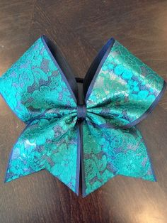Dark and light blue cheer bow