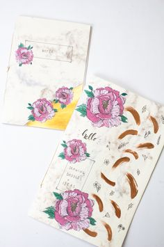 Bookbinding Personalized Journals (+ Free Peony Printables) -a bookbinding tutorial to make both a notebook as well as a sketchbook for finding inspiration!