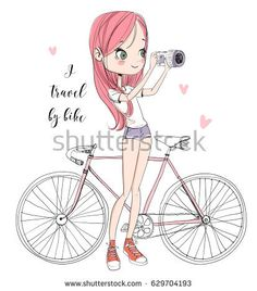 Girl with a camera and bicycle📸