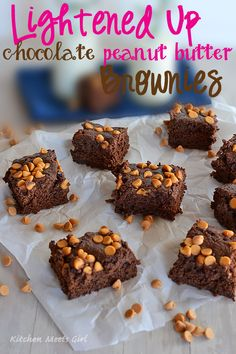 Lightened Up Chocolate Peanut Butter brownies - with two kinds of chocolate, you'll never miss the butter in these!  #recipe #brownies - from www.kitchenmeetsgirl.com
