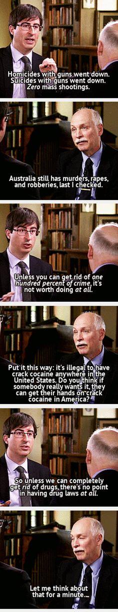 John Oliver talking about Austrlia's ban on guns