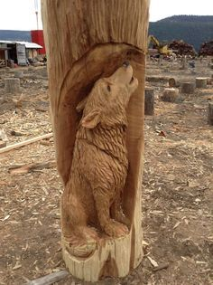 Paul may prefer dabbling in mythology and fantasy, but his wolf ended up being… Chainsaw Wood Carving, Wood Carving Art, Carver Kings, Diy Projects Using Wood, Wood Craft Patterns, Whittling Wood, Tree Carving, Carving Designs, Wood Creations