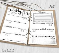 Printable Weekly Planner A5 Weekly Planner by HappyDigitalDownload