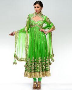 Neon Green Anarkali Suit  by Preeti S. Kapoor