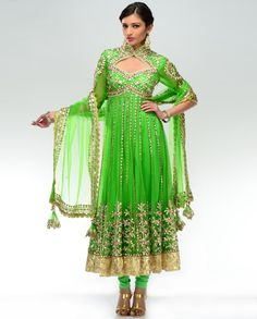 Neon Green Anarkali Suit  The embellishment of India Attire is amazing  I have Wall Hangings all over my house.
