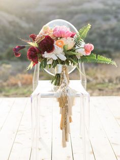 pink peony fern bouquet