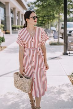 e5b69310e8e 79 Best Striped dress outfit images in 2018 | Midi dress outfit ...