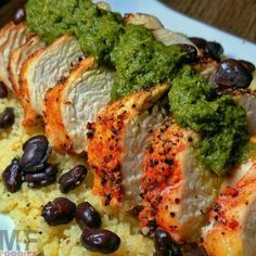 """ I think I will make this again today! Grilled garlic/pepper chicken with chimichurri sauce and couscous with black beans! Sauce Recipes, Cooking Recipes, Healthy Recipes, Chicken Stuffed Peppers, Pepper Chicken, Chimichurri, Chicken Seasoning, Healthy Chicken, Couscous"