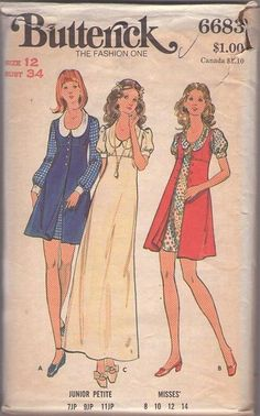Vintage 70's Sewing Pattern DARLING Mod Mia Farrow Scoop Neck Collared Empire Waist Mini Dess, Maxi Evening Gown, Button Front Jumper Coat