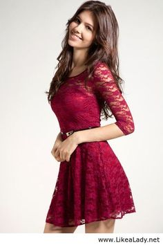 Red lace dress that is so pretty. looks a little short for me but hey, a girl can dream right? ;)