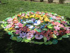 Mandala z květin a motýlů