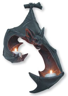 Vampire Bat Wall Plaque Tealight Holder