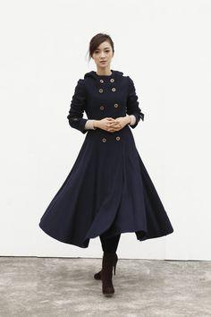 Marineblau Coat Big Sweep Zweireiher Hoodie von Sophiaclothing