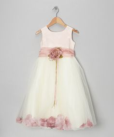 Look at this Kid's Dream White & Rose Petal Silk Dress - Infant, Toddler & Girls by Kid's Dream Toddler Girl Dresses, Flower Girl Dresses, Toddler Girls, Flower Girls, Girl Outfits, Cute Outfits, Baby Couture, My Princess, Kids Fashion