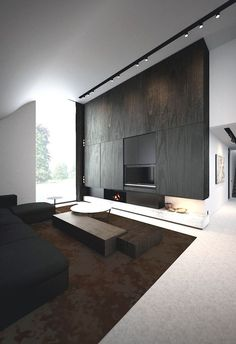 living room with corner fireplace and tv decorating ideas with black carpet floor and black separate room