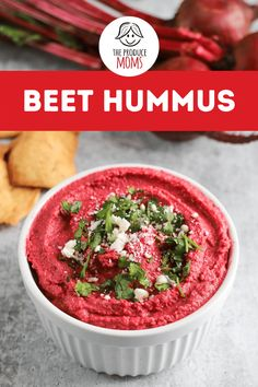 This dynamic and easy to make dip can be classy or casual — it all depends on how you serve it. It's both a versatile dip and a hearty spread. Try this delicious beet hummus recipe that boasts a unique flavor and fun color that makes it a joy to eat. Get this perfect for summer recipe from The Produce Moms! Beet Recipes, Vegetarian Recipes, Healthy Recipes, Nutritious Snacks, Healthy Snacks, Beet Hummus, Appetizer Recipes, Appetizers, Snack Recipes