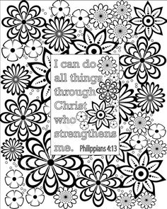 Flower Coloring Pages Bible Verse Sheets Set Of 5 Instant Printable PDF Diy Digital