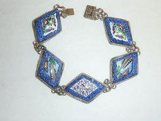 Vintage Persian Enamel Silver Link Bracelet by labaublesandbags