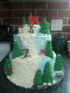 topsy turvy ski cake | Cake Mom: Reader Cakes: Ski Mountain and Mad Hatter