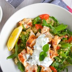 Grilled Chicken & Quinoa Tzatziki :: Season chicken with salt and pepper. Squeeze half a lemon over the chicken and let it sit to marinade for 10 minutes. Rinse quinoa several times. Place quinoa in a medium saucepan with stock. // Full recipe @ http://naturalfertilitybreakthrough.com/food-nutrition/meal-plans-recipes/grilled-chicken-quinoa-tzatziki/