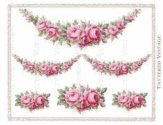 Rose banner Vintage Diy, Decoupage Vintage, Vintage Labels, Vintage Flowers, Vintage Flower Tattoo, Etiquette Vintage, Foto Transfer, Antique Wallpaper, Decoupage Printables
