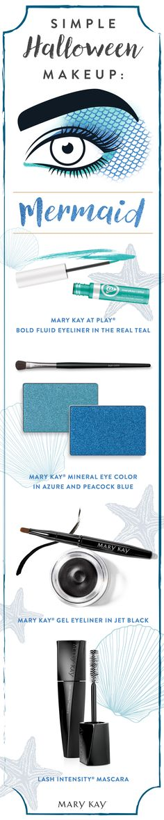 Turn your dream of being a mermaid into a reality this Halloween with bright blue Mary Kay® Mineral Eye Colors! Mermaid makeup hack: Use a pair of old fishnets as a stencil to create the look of fish scales on your temples.