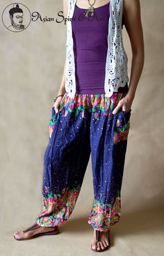 Navy blue floral boho pants - Find our shop at http://stores.ebay.de/Asian-Spirit-and-Art or connect with us on facebook http://www.facebook.com/asian.spirit.art