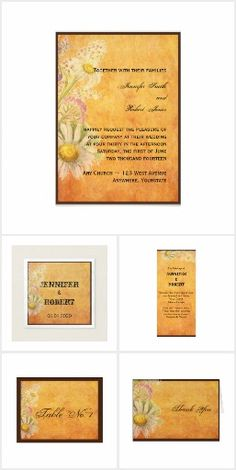 Rustic Watercolor Daisies on Parchment Wedding Text Background, Vintage Theme, Invitation Set, Daisies, Special Day, Reception, Stationery, Romantic, Watercolor