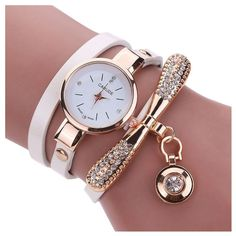 >> Click to Buy << Women's Fashion Faux Leather Rhinestone Analog Quartz Wrist Watches White #Affiliate