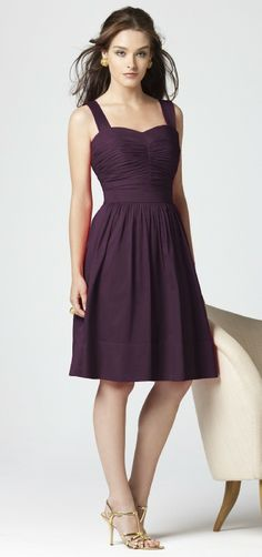 Grape Straps Knee Length Graduation Dress 82856