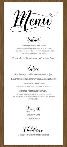 About Two Hearts Wedding Menu
