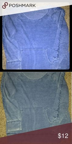 Oversized Shirt Comfy Oversized off one shoulder lightweight sweatshirt with stitched design down sleeves and cuffed waistband. Faded blue color. Worn once. Too big now Cato Tops Sweatshirts & Hoodies